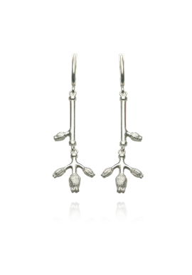 "Long silver earrings ""BUDS"""